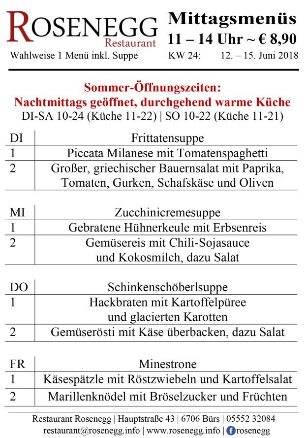 Mittagsmenüs Rosenegg KW 24 (Andere)